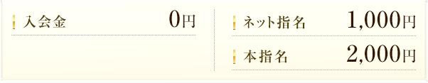 入会金0円・ネット指名1,000円・本指名2,000円